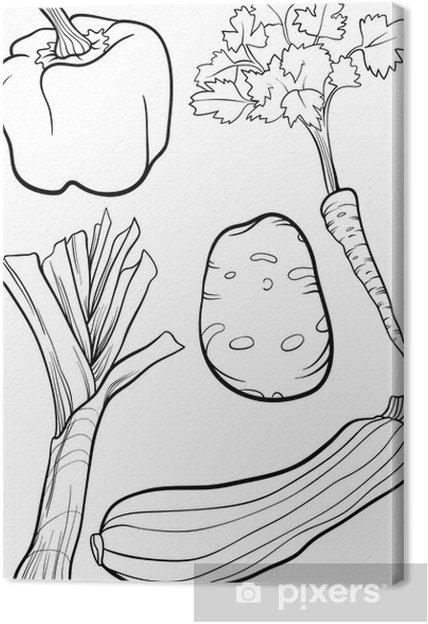 Karikatür Sebze Boyama Kitabı Için Belirlenen Tuval Baskı Pixers