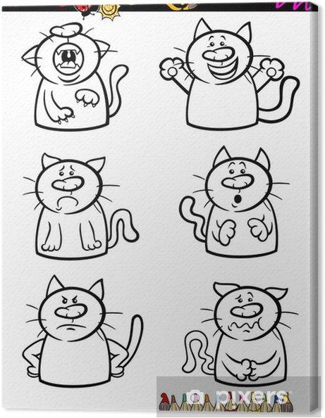 Kediler Duygu Set Karikatür Boyama Kitabı Tuval Baskı Pixers