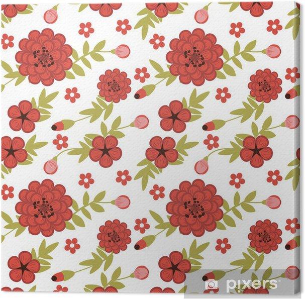 Tuval Baskı Kırmızı çiçekler ile kadınsı bahçeye sahip Seamless pattern -