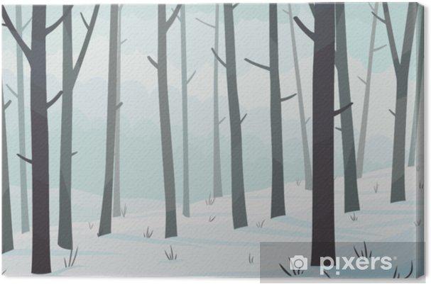 Kış Orman Manzara Yatay Vektör çizim Tuval Baskı Pixers Haydi