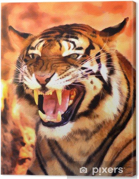 Kızgın Yüz Tiger Portre Boyama Tuval Baskı Pixers Haydi