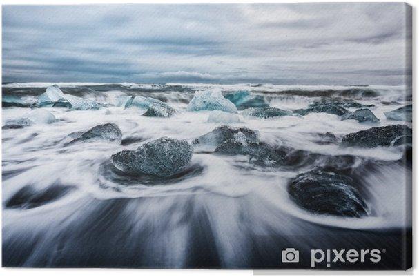 Tuval Baskı La Laguna di jokulsarlon, blocchi di ghiaccio çerçeveler dalle onde chiamata anche spiaggia di diamanti islanda europa - Manzaralar
