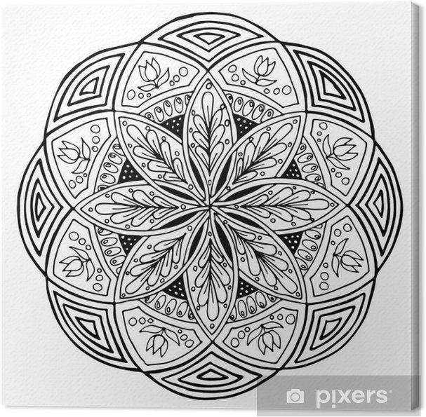 Tuval Baskı Mandala Yuvarlak çiçek Süsleme El çizimi Bez Için Boyama Kitabı Veya Baskı Için Desen Vektör Stok Illüstrasyon