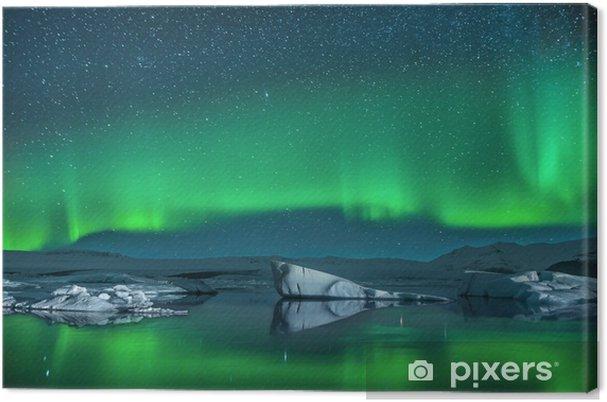 Tuval Baskı Northern Lights altında buzdağlarının - Norveç