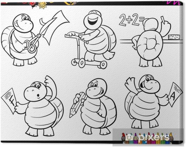 Okul Kaplumbağa Set Karikatür Boyama Tuval Baskı Pixers Haydi