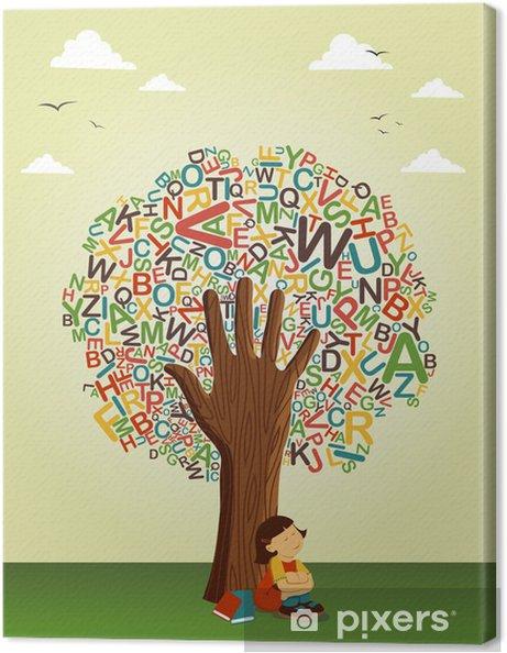 Okul öncesi Eğitim Ağaç Eldeki Okumayı öğrenin Tuval Baskı Pixers