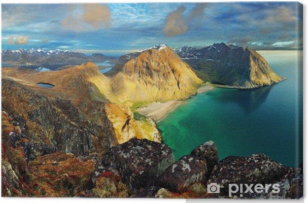 Tuval Baskı Plaj, dağ manzara Norveç - Lofoten -