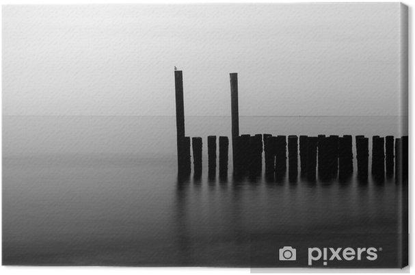 Tuval Baskı Plaj, siyah ve beyaz Pales de -