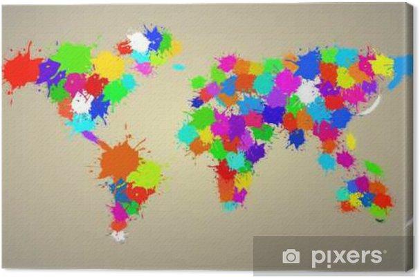 Tuval Baskı Renkli Suluboya Boya Soyut Dünya Haritası