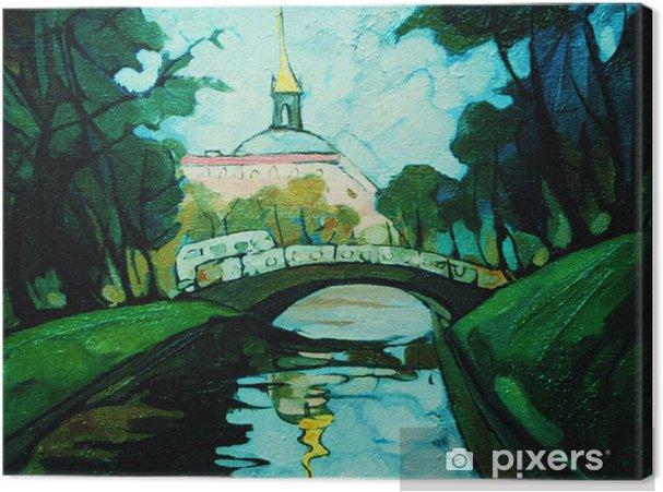 Saint Petersburg Kanal Ve Köprü Ile Peyzaj Boyama Tuval Baskı