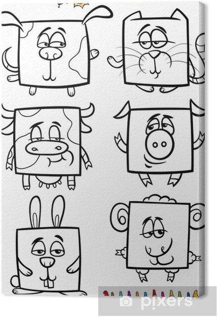 Sevimli Hayvanlar Karikatur Boyama Kitabi Tuval Baski Pixers
