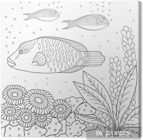 Tuval Baskı Siyah Ve Beyaz Doodle Desen Boyama Kitabı Için Deniz Desen Deniz Balık Deniz Yosunu Kabarcıklar çocuklar Ve Yetişkinler Için