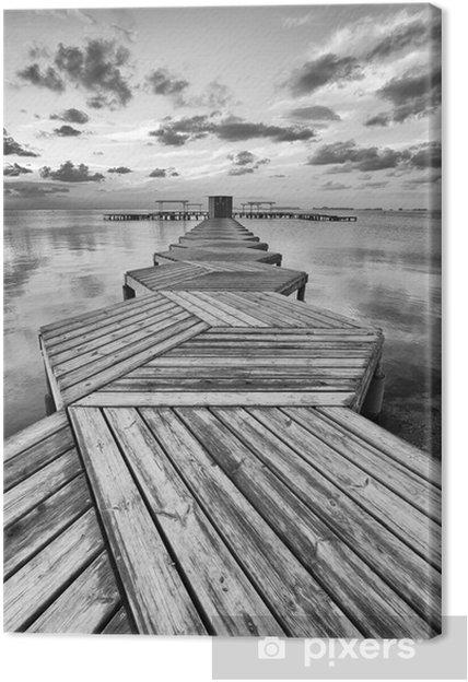 Tuval Baskı Siyah ve beyaz Zig Zag dok -