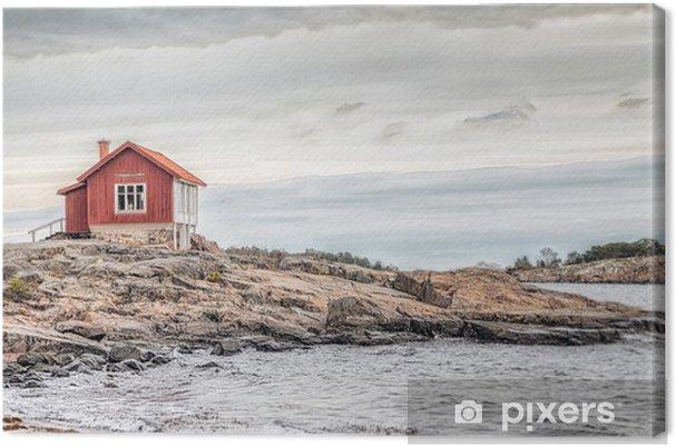 Tuval Baskı Sonbahar donuk renkte deniz kenarında kırmızı ev -