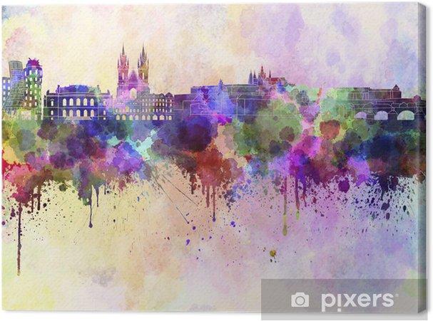 Tuval Baskı Sulu boya arka Prague silueti - Prag