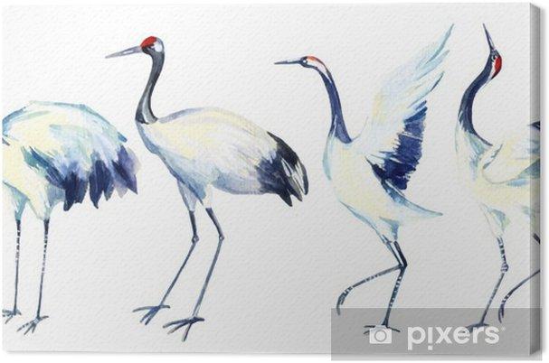 Tuval Baskı Suluboya Asya vinç kuş kümesi - Hayvanlar