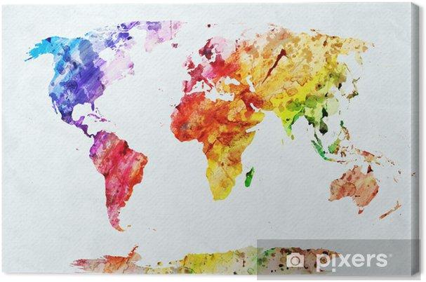 Tuval Baskı Suluboya dünya haritası -