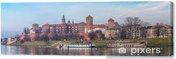 Tuval Baskı Tarihi Kraliyet Wawel Kalesi a havadan görünümü ile Krakov ufuk çizgisi - Kraków