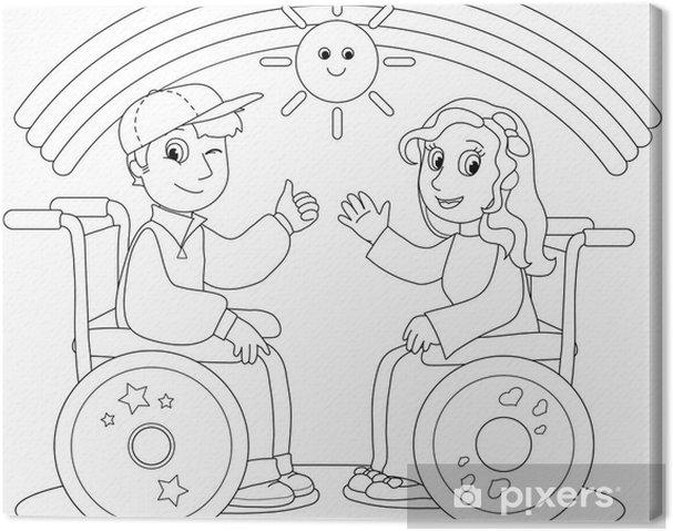 Tuval Baskı Tekerlekli Sandalye üzerinde Erkek Ve Kız çocuk Gülümseyen Illüstrasyon Boyama