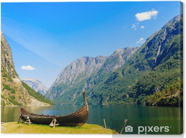Tuval Baskı Turizm ve seyahat. Dağ ve Norveç'te fiyort. -