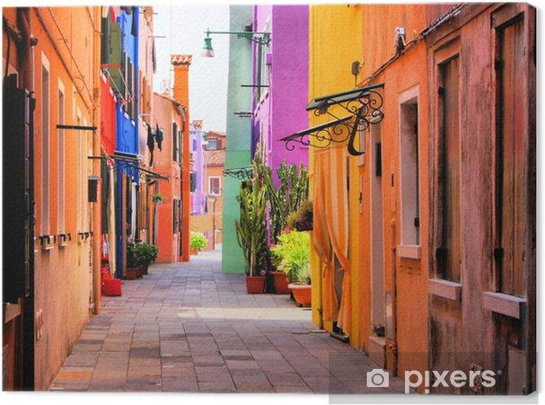 Tuval Baskı Venedik, İtalya yakınlarındaki Burano, renkli sokak -