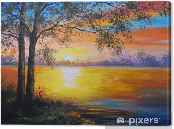 Tuval Baskı Yağlı boya manzara - göl yakın ağaç -