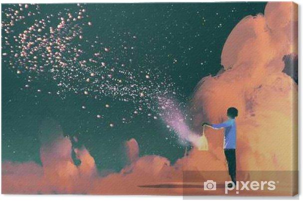Yıldız Tozu Shinning Yüzen Illüstrasyon Boya Ile Bir Kafes Tutan