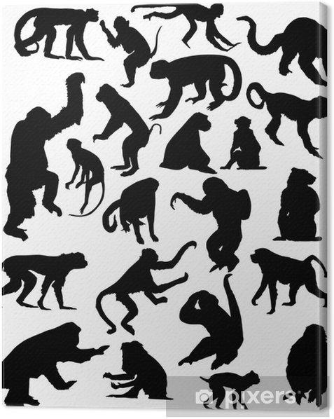 Tuval Baskı Yirmi-iki siyah izole maymun siluetleri - Memeliler