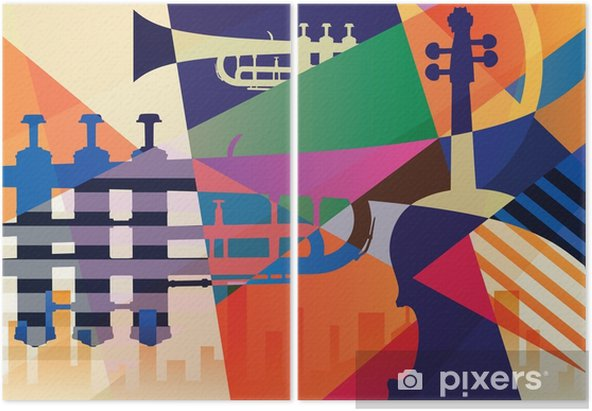 Tweeluik Abstracte jazzaffiche, muziekachtergrond - Grafische Bronnen