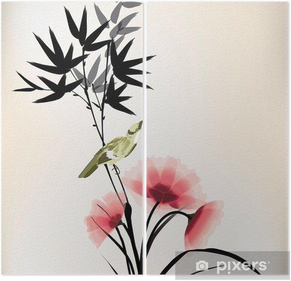 Tweeluik Chinese inkt stijl bloem vogeltekening - Criteo