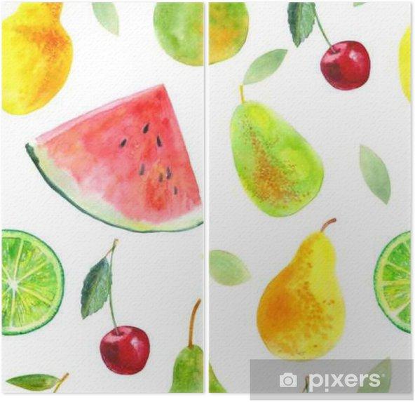 Tweeluik Naadloos patroon met fruit.Watermelon kalk peren en cherry.Food picture.Watercolor hand getrokken illustratie. - Eten
