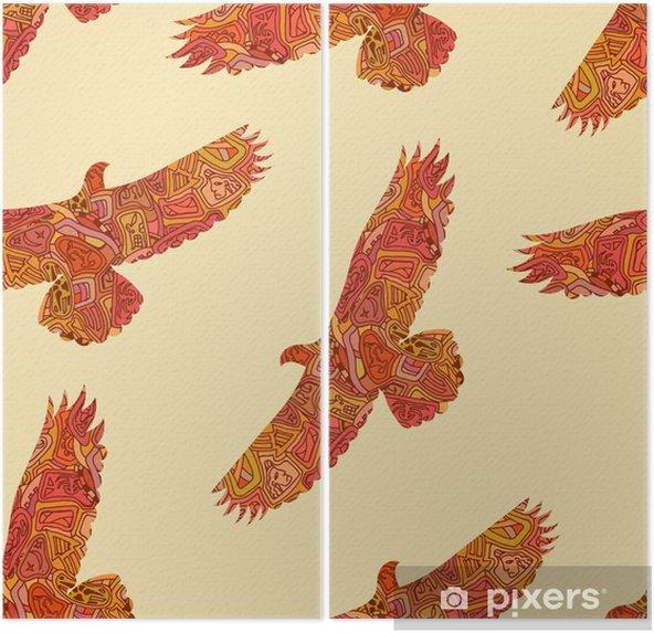 Tweeluik Naadloze decoratieve tribale patroon met adelaars. vector illustrat - Grafische Bronnen