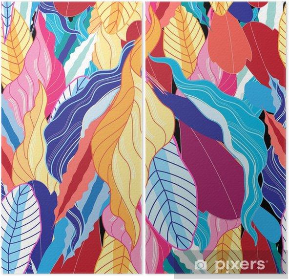Tweeluik Naadloze patroon met bladeren. - Bloemen en Planten