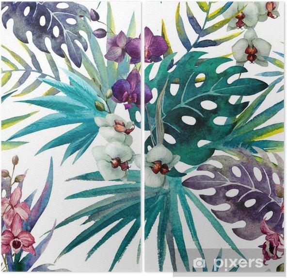 Tweeluik Patroon met bladeren van de orchidee hibiscus, waterverf - iStaging