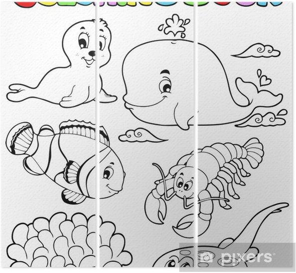 Boyama Kitabi Cesitli Deniz Hayvanlari 3 Uc Parcali Pixers