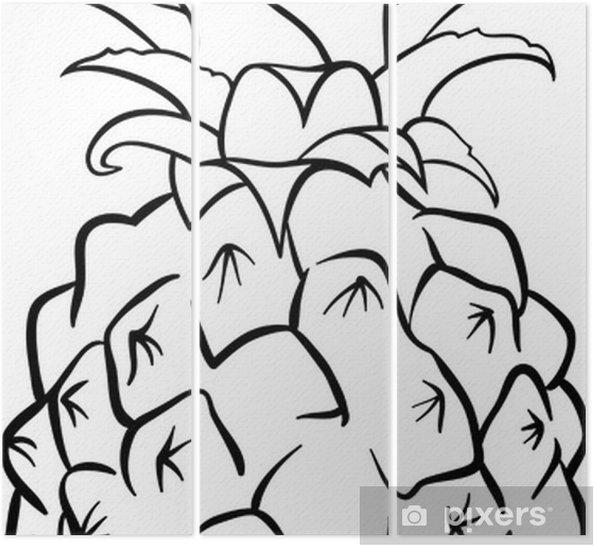 Boyama Kitabı Için Ananas Meyve üç Parçalı Pixers Haydi