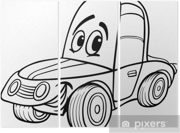 Boyama Kitabi Icin Araba Karikatur Illustrasyon Uc Parcali