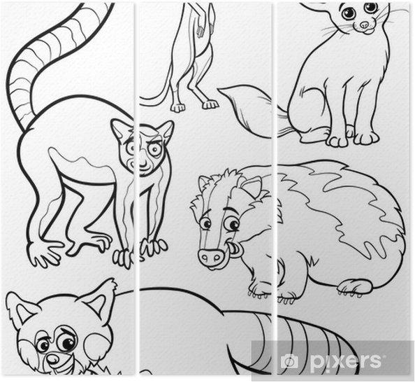 Boyama Kitabı Için Belirlenen Vahşi Hayvanlar üç Parçalı Pixers
