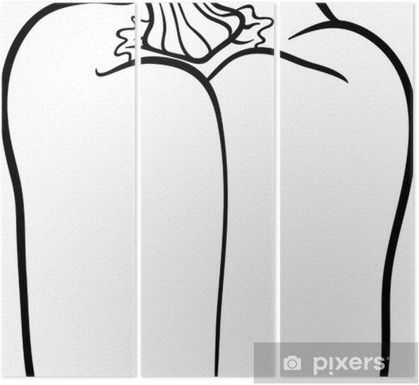 Boyama Kitabı Için Biber Sebze Karikatür üç Parçalı Pixers