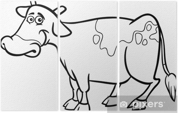Boyama Kitabi Icin Ciftlik Inek Karikatur Uc Parcali Pixers