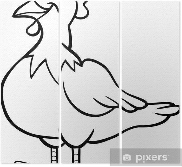 Boyama Kitabı Için çiftlik Tavuk Karikatür üç Parçalı Pixers