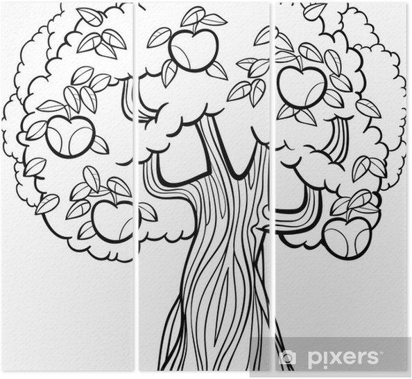 Boyama Kitabi Icin Elma Agaci Karikatur Uc Parcali Pixers
