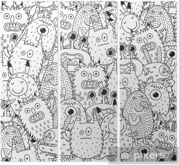 Boyama Kitabi Icin Komik Canavarlar Dikissiz Desen Siyah Beyaz