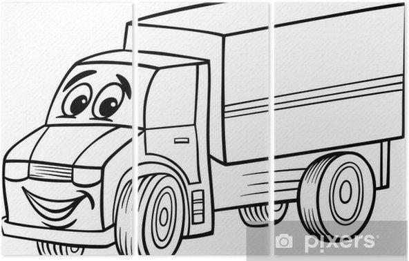 Boyama Kitabı Için Komik Kamyon Karikatür üç Parçalı Pixers
