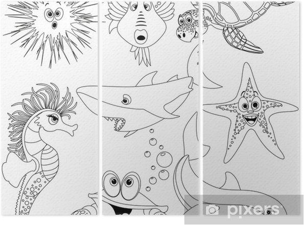 Boyama Kitabi Vector Icin Hayvanlar Mare Da Colorare Deniz