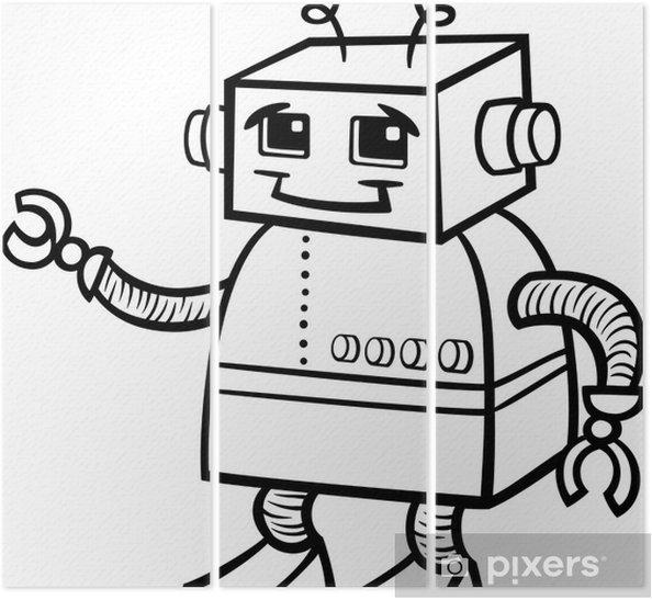 Boyama Robot Karikatür Illüstrasyon üç Parçalı Pixers Haydi