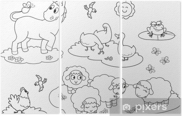 çocuklar Için çiftlik Hayvanları Boyama üç Parçalı Pixers Haydi