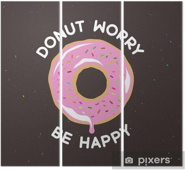 Üç Parçalı Donut mutlu bağbozumu posteri olmak endişe. Vector illustration. - Yiyecek
