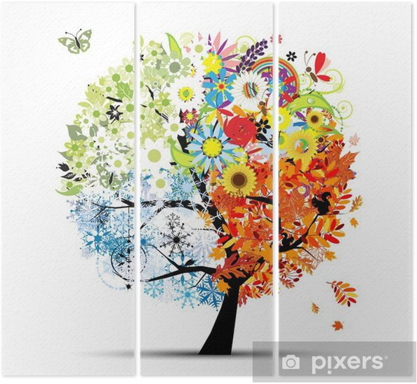 Üç Parçalı Dört mevsim - bahar, yaz, sonbahar, kış. Art tree -
