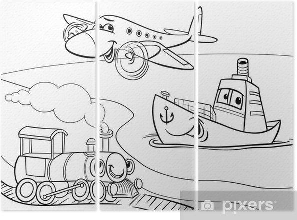 Duzlem Gemi Tren Karikatur Boyama Uc Parcali Pixers Haydi